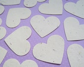 10 x 2 inch Cream Plantable Seed Hearts - Flower Seed Confetti - Wedding, Favours, Table Decor