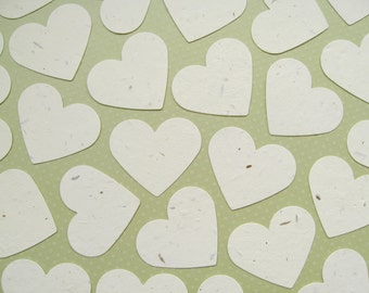 50 x 2 inch Cream Plantable Seed Hearts - Flower Seed Confetti - Wedding, Favours, Table Decor