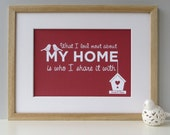 Home Love Print 'What I love most about my home is who I share it with' - red personalised print - housewarming gift - home decor - home
