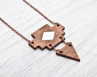 Wooden Tribal Necklace, Brown Pendant, Native Necklace, Geometric Necklace, Brown Jewelry, Gifts for Her, Rustic Pendant, Mother Day Gift