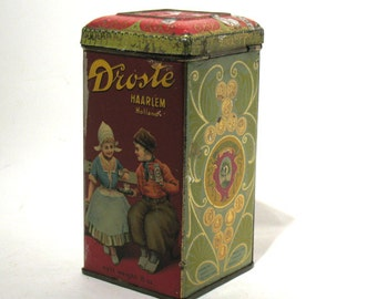 Vintage  Droste's Cocoa Advertising Tin - Dutch Haarlem Holland - Droste's Dutch Cocoa - 8 oz Net Weight Tin - Hinged Lid - Made in Holland