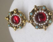 "Gorgeous Marked 'ART"" Vintage Earrings With A Red Glass Center Accented With Faux Baby Seed Pearls And Turquoise Beads"
