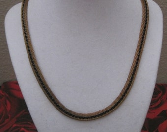 Small Black Seed Beads And Gold Necklace, Vintage Jewelry, 1940's, Art Moderne