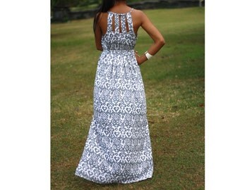 Grey Maxi Dress, Beach Cover Up, Summer Sundress, Women's Peasant Dress