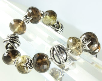 smoky lemon quartz bracelet with sterling silver, gemstone statement bracelet, handmade fine bracelet, holiday gift, alira jewelry, BR2102