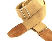 Guitar Strap with Premium Leather - Textured Ginger Linen