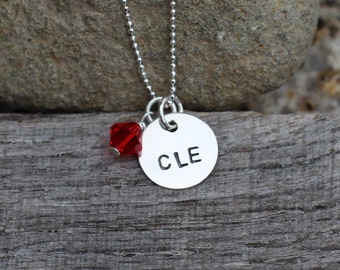 Hand Stamped Sterling Silver CLE necklace