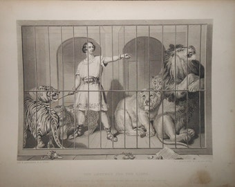 Vintage engraving at the zoo lion tamer van amburgh and the lions ca.1880s