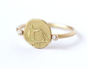 Gold Signet Ring, Egyptian Ring, Dog & Snake Ring, Egyptian Jewelry, Uraeus Ring, Ancient Jewelry, Gold Dog Ring, Egyptian Iconography