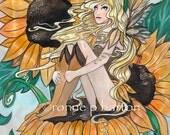 Sunny sunflower fairy fantasy ACEO ATC art trading card fine art print