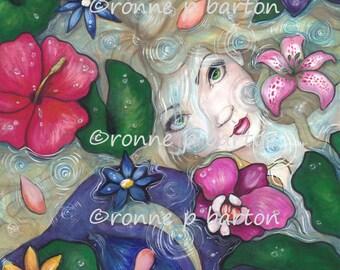 Tropical Rain fairy fantasy mermaid LE aceo art trading card ATC print