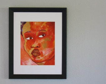 The Subtle One - 8x10 Fine Art Giclee Print - Red - Red and Gold - Pink - Woman - Painting - Dreamy