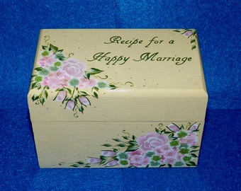 Elegant Wedding Guest Book Box Wooden Recipe Card Box Personalized Shabby Chic Advice Box Hand Painted 4x6 Recipe For A Happy Marriage Roses