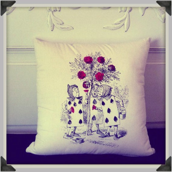 Screenprinted Alice in Wonderland, Roses are Red Cushion handmade alternative Wedding Blacklight retro home decor