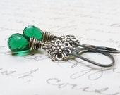 Emerald Green Quartz Earrings / Bali Sterling Silver / Wire Wrapped Faceted Teardrops / May Birthstone / SimplyJoli