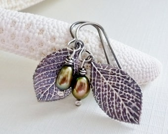 Leaf Earrings / Sterling Silver Leaf Earrings / Olive Green Freshwater Pearls / SimplyJoli