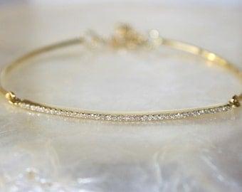 Diamond jonc bracelet, Diamond pave bracelet, 18k gold and diamond bracelet, 18k gold and VS-G diamonds