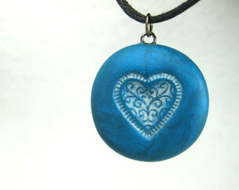 Teal Lace Heart Necklace, Handmade Polymer Clay Jewelry Pendant