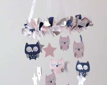 Owl Nursery Mobile in Pink, Navy, Gray & White- Baby Mobile, Baby Shower Gift