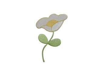 ID #6909 White and Yellow Flora Flower Plant Iron On Embroidered Patch Applique