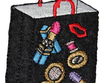 ID #8516 Mall Shopping Spree Cosmetics Bag Embroidered Iron On Applique Patch