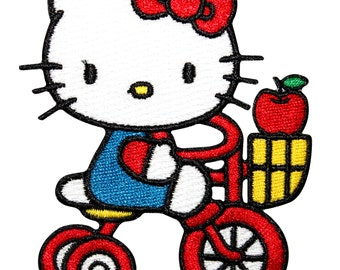 Hello Kitty White Bicycle Bike Japanese Culture Cat Icon Iron On Applique Patch