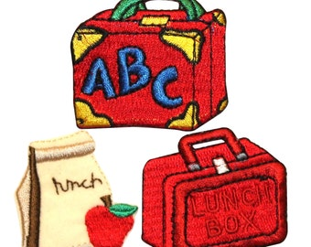 ID #0982 Lunchbox Kids School Type Embroidered Iron On Applique Patch Lot Of 3