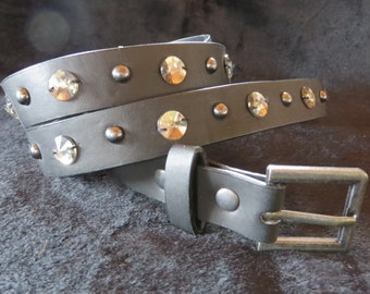 Rhinestone Studded Dog Collar - vintage studded belt - upcycled BLING- SMALL to MEDIUM Dog - Silver Studs and Black Faux Leather