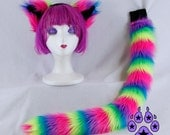 NEON Rainbow Kitty Ears Tail  Headband Costume anime cosplay fire furry rave cyber goth faux fur neko party 4011