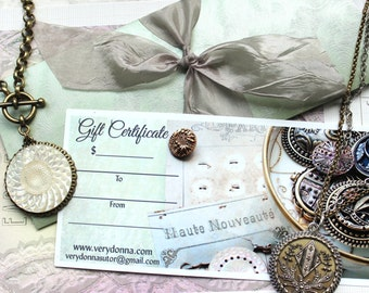 Jewelry GIFT CERTIFICATE veryDonna for- 75 DOLLARS, Gift Card, Birthday Gift, Girl who has everything, Antique Button Jewelry veryDonna