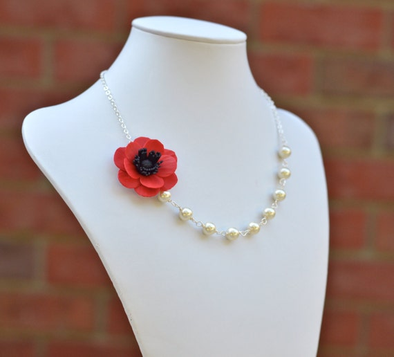 FREE EARRINGS, Red Poppy Flower Necklace, Red Flower necklace, Flower Necklace, Bridesmaid Necklace, Summer Necklace