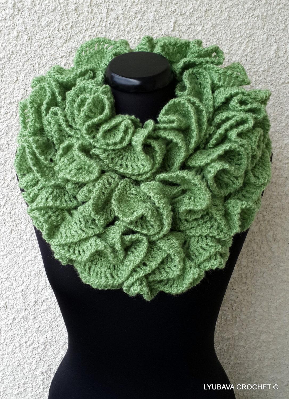 Crochet Pattern Ruffle Scarf Long Scarf Diy By Lyubavacrochet