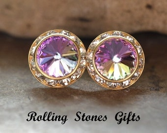 15mm Vitrail Light & Gold Swarovski Surrounds Rhinestone Stud Earrings-VL Crystal Studs-Vitrail Light Swarovski Studs-Large Studs