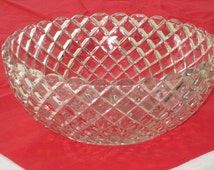Vintage WATERFORD Crystal Depression Glass Serving Bowl by Anchor Hocking