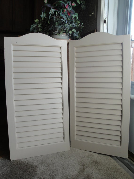 Vintage Wooden Louvered Shutters 1970s