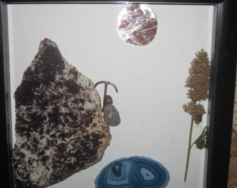Mountain climber - stoneart - shadow box art - anniversary- wedding - birthday - diorama