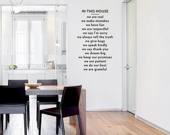 In This House Wall Quote Decal - Living Room Wall Decal, Family Wall Sticker, Family Rules Decal, Typography Decal, In This House Quote