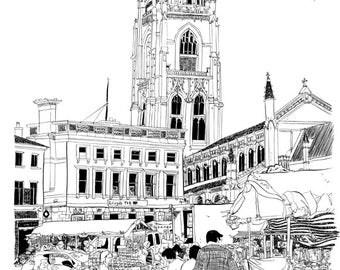 Illustration print of Boston market, Lincolnshire.