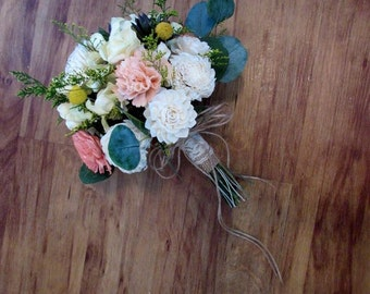 Wedding Bouquet, Sola wood Succulent Bouquet, Woodland Dried Bouquet, Bridal Bouquet, Sola flowers, Alternative Bouquet, Rustic Handmade