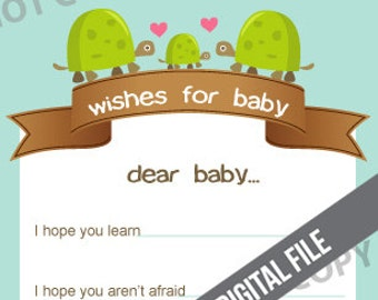 DIGITAL DOWNLOAD Turtles Wishes for Baby Shower Activity Card