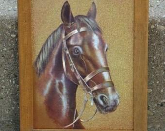 Bay Iridescent - Vintage 1970s Framed Dufex Foil Bridled Horse Print, Unsigned