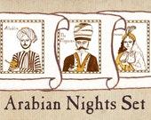 "Arabian Nights Nursery Art - ""Aladdin and the Magic Lamp"" Set of 3"