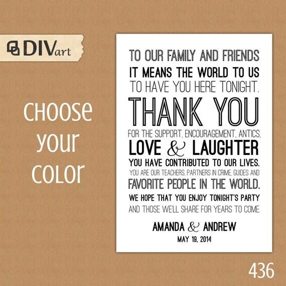 PRINTABLE Wedding Thank You Card Thank You Sign black and – Printable Wedding Thank You Cards