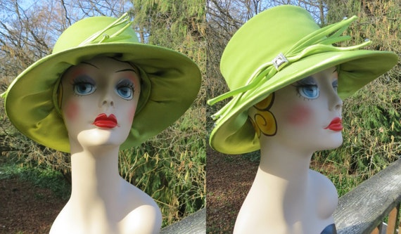 1980s green fedora style hat