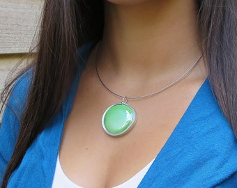 Grass Green,  green melted glass marble pendant, glass jewelry, necklace pendant 036