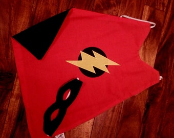 Super Hero Cape and Mask Set - Around the arms cape - Toddler cape - Kids cape - Red and Black - size 18m-3T