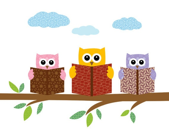 Items similar to Owls reading books on a tree branch - print   poster