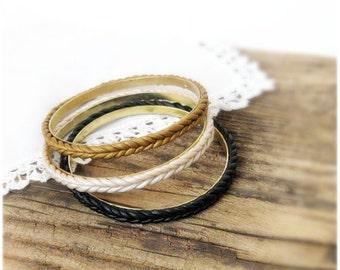 Stacking Bangle Set of 3 Metal Polymer clay Thin Bracelets black honey gold pearl Bangle set