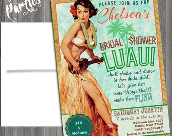 hawaiian Luau Vintage Pin Up Girl Invitation- Bachelorette, Hens night, Lingerie Shower Birthday party diy print file Printed Optional