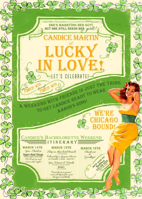 St Patricks Day Vintage Pin Up Girl Invitation – St Patricks Day Party Invitations